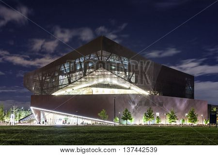 IRVING TX USA - APR 18 2016: Exterior of the Irving Convention Center at Las Colinas illuminated at night. Irving Texas United States