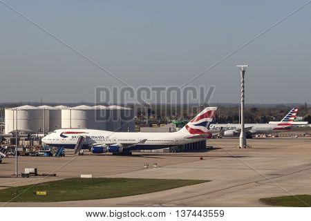 LONDON UK - APR 20 2016: British Airways Boeing 747 at the London Heathrow international airport. Hillingdon England United Kingdom.