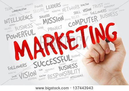 Hand Writing Marketing With Marker