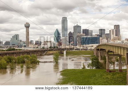 Dallas downtown skyline view with the Trinity River in foreground.Texas United States