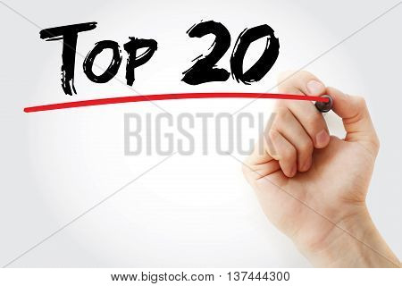 Hand Writing Top 20 With Marker