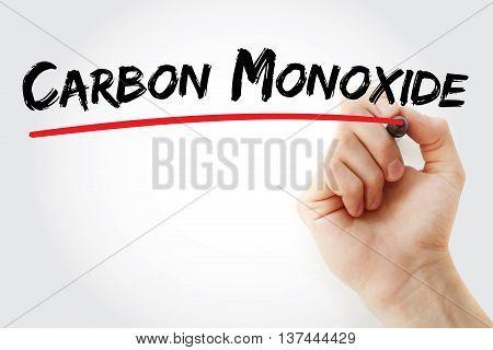 Hand Writing Carbon Monoxide
