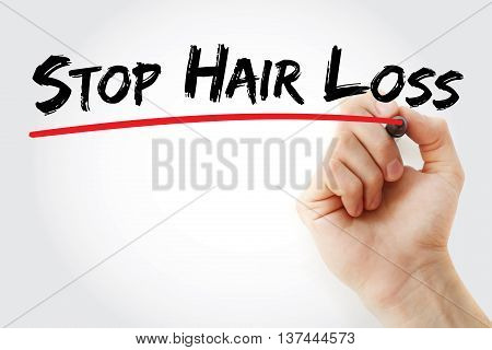 Hand Writing Stop Hair Loss With Marker