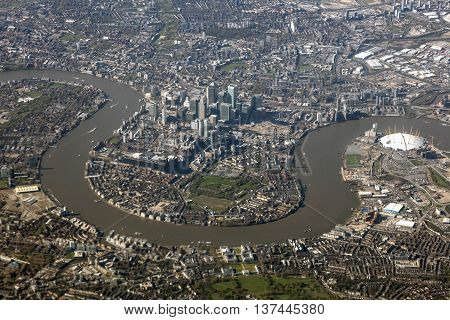 Aerial view of the Canary Wharf district in the city of London United Kingdom