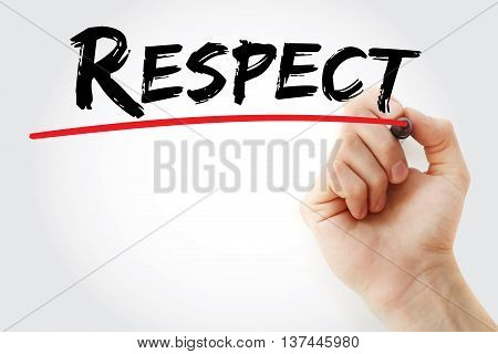 Hand Writing Respect With Marker