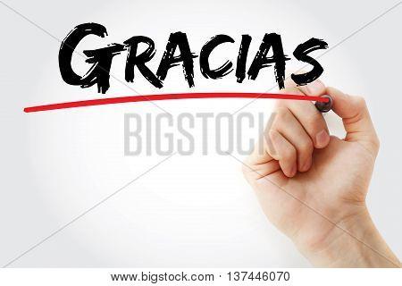 Hand Writing Gracias (thank You In Spanish)