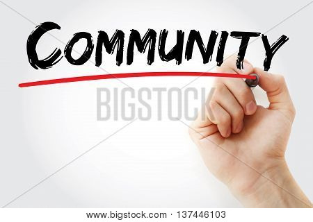 Hand Writing Community With Marker