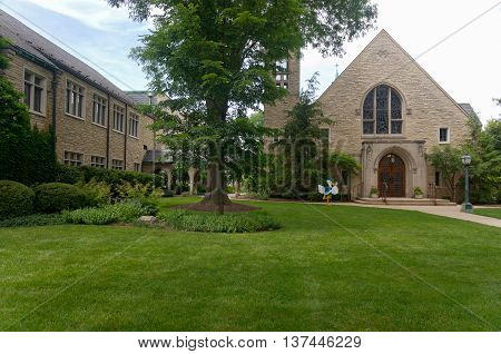 church of gothic revival and prairie school architectural style in western springs illinois