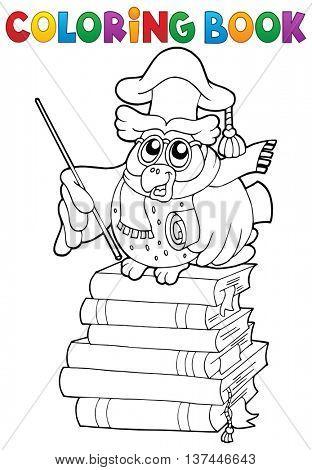 Coloring book owl teacher theme 2 - eps10 vector illustration.