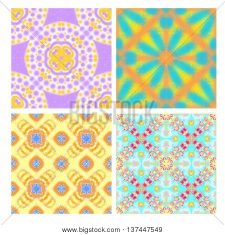 Colorful seamless tiling textures collection isolated over white background