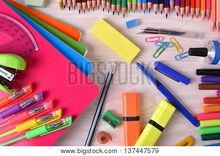 Background With School Or Office Material Top View