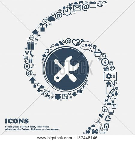 Screwdriver, Key, Settings Icon Sign In The Center. Around The Many Beautiful Symbols Twisted In A S