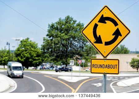 Yellow Sign For Roundabout Intersection In Suburbs