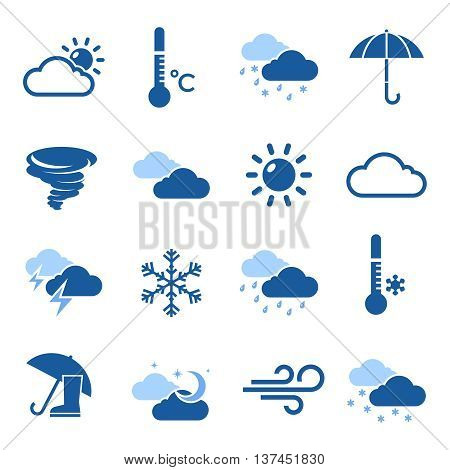 Weather forecast isolated blue icon set with thermometers and different elements on wheather theme vector illustration