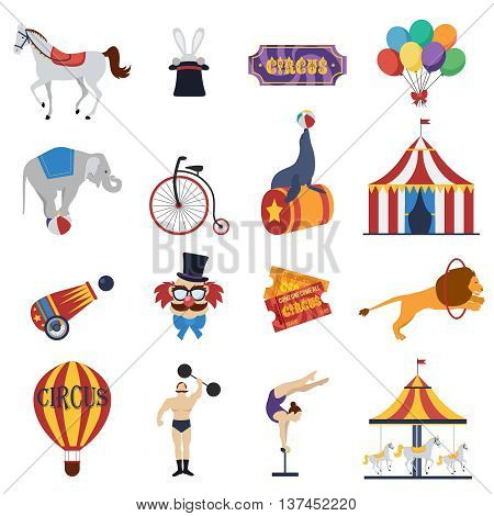 Circus decorative icons set with signboard tent tickets clown strongman animals balloon carousel cannon isolated vector illustration