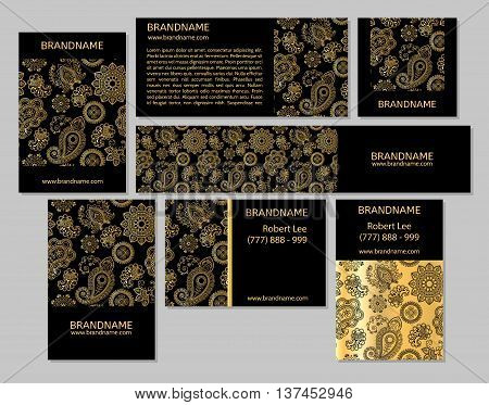 Vector set of business cards flayers banners with oriental pattern. Paisley and mandala. Modern abstract style Indian Arabic Islam motifs. Vintage design elements. Red gold black color.