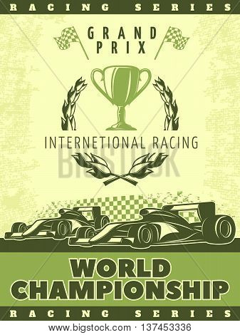 Racing green poster with sport cars and description of international racing world championship vector illustration
