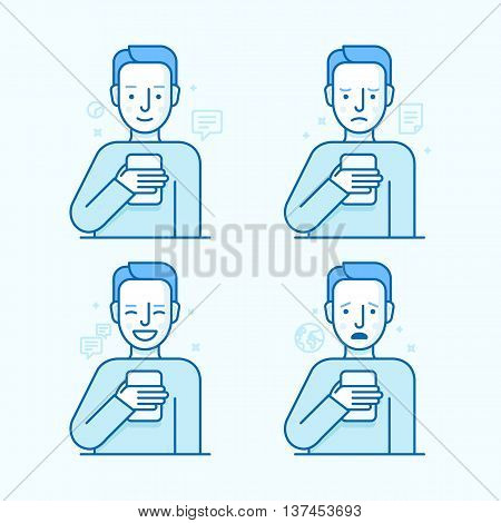 Vector Set Of Illustrations Of The Male Character In Trendy Flat Linear Style