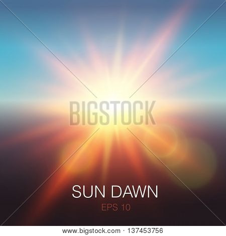 Realistic sun dawn beams of orange color and lens flares on blue sky background vector illustration