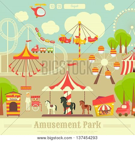 Amusement Park. Summer Holiday Card with Fairground Elements - Rides Carousel. Vector Illustration.