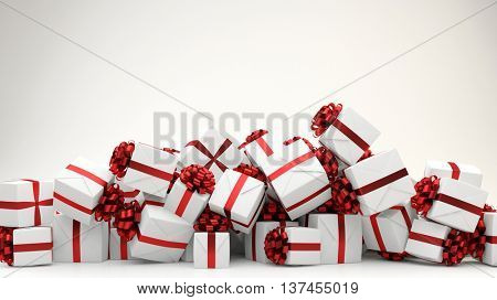 Heap of many white christmas gifts with red ribbons (3D Rendering)