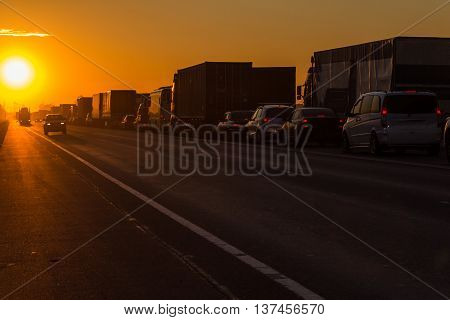traffic jam on the Moscow highway in the Leningrad region ,Russia