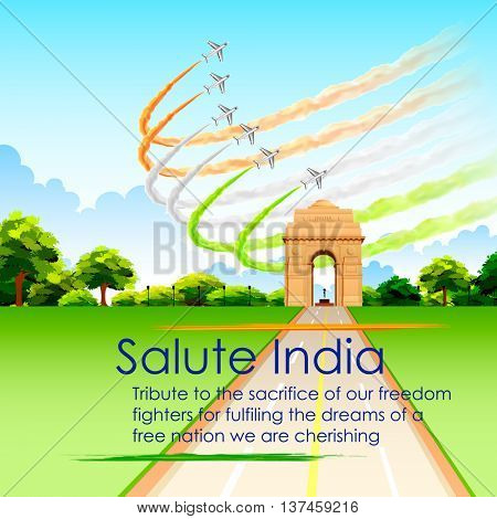 illustration of airplane making Indian tricolor flag around India Gate for Republic Day and Independence Day celebration