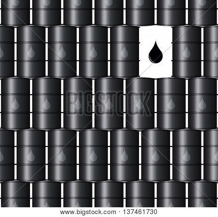 Metal Black Oil Barrels Vector Seamless Background