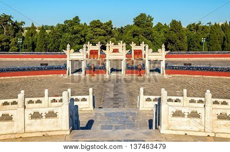 Circular Mound Altar at the Temple of Heaven in Beijing. UNESCO World Heritage site in China