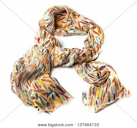 colored linen and silk scarf isolated on white