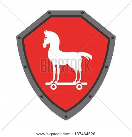 security shield with trojan horse isolated icon design, vector illustration graphic
