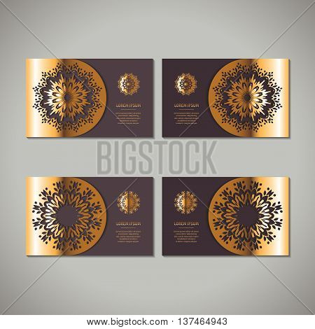 Set of four golden floral ornamental cards with oriental mandala on dark vinous background. Business invitation card template. Indian asian arabic islamic ottoman motif. Vector illustration.