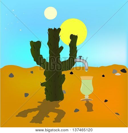 absraktsiya oasis mirage. Cactus in the desert source of tequila. Two suns. Bright blue sky .Vektor illustration.