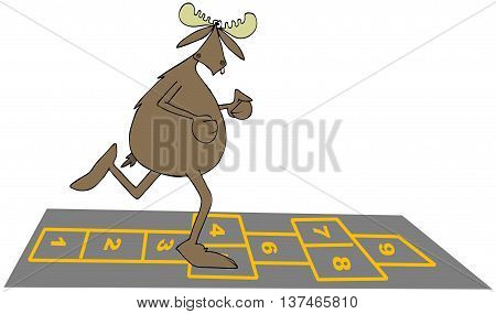 Illustration of a bull moose playing on a hopscotch outline.