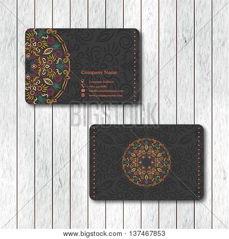 Set of ornamental business cards with flower mandala visiting template card. Vintage decorative elements. Indian asian arabic islamic ottoman motif. Vector illustration.