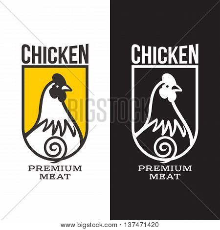 set of logos with chicken, illustration, isolated on a white background, with different logos chicken, simple logos about chicken, meat and eggs, symbol for production of poultry meat