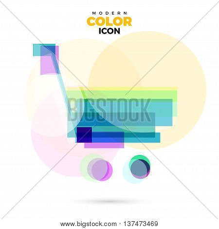 Shopping trolley Modern varicolored lucent Icon for web app. New concept geometric design rainbow color symbol. Logo technology sign isolated on white. Vector illustration in creative style.