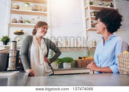Women Working At Juice Bar