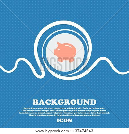Piggy Bank - Saving Money Icon Sign. Blue And White Abstract Background Flecked With Space For Text