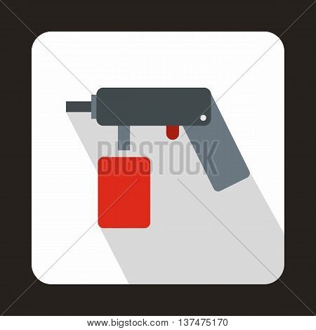 Spray aerosol can bottle with a nozzle icon in flat style on a white background