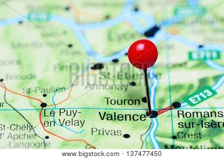 Valence pinned on a map of France