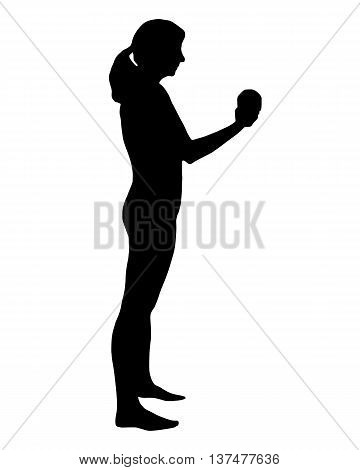 Detailed and accurate illustration of silhouette of woman doing exercises