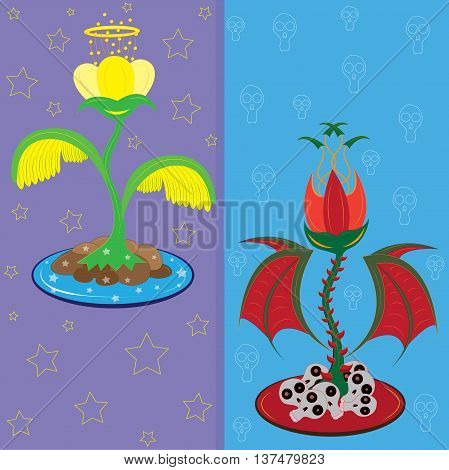 Fantastic angelic and devil flowers. Illustration. vector.