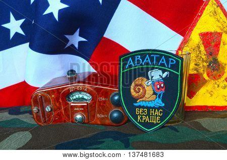 ILLUSTRATIVE EDITORIAL.Avatar.Unformal chevron of Ukrainian army for alcohol addictive soldiers.USA  Flag as background.Ukraine danger for the World .June 23,2016 in Kiev, Ukraine