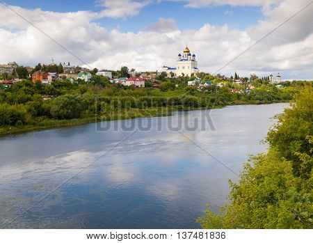 Riverfront Bystraya Sosna and the Ascension (Voznesensky) Cathedral. Yelets Lipetsk region Russia.