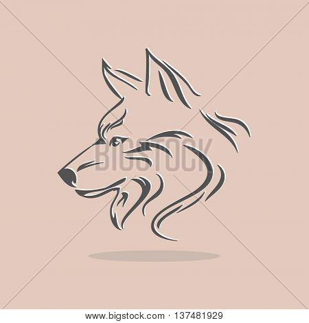 Stylized wolf head on a light orange background