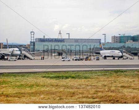 Airport Frankfurt / Main, Germany - Terminal With Runway