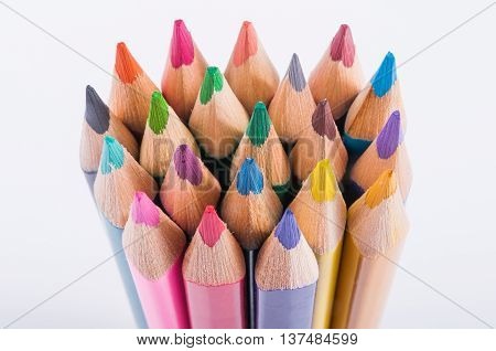 Bright color pencils isolated on white background