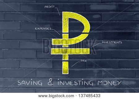 Split Ruble Currency Symbol With Budgeting Captions, Saving & Investing Money