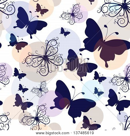 Seamless pattern with graphic black and lacy vintage butterflies with pastel colorful balls (vector eps10)